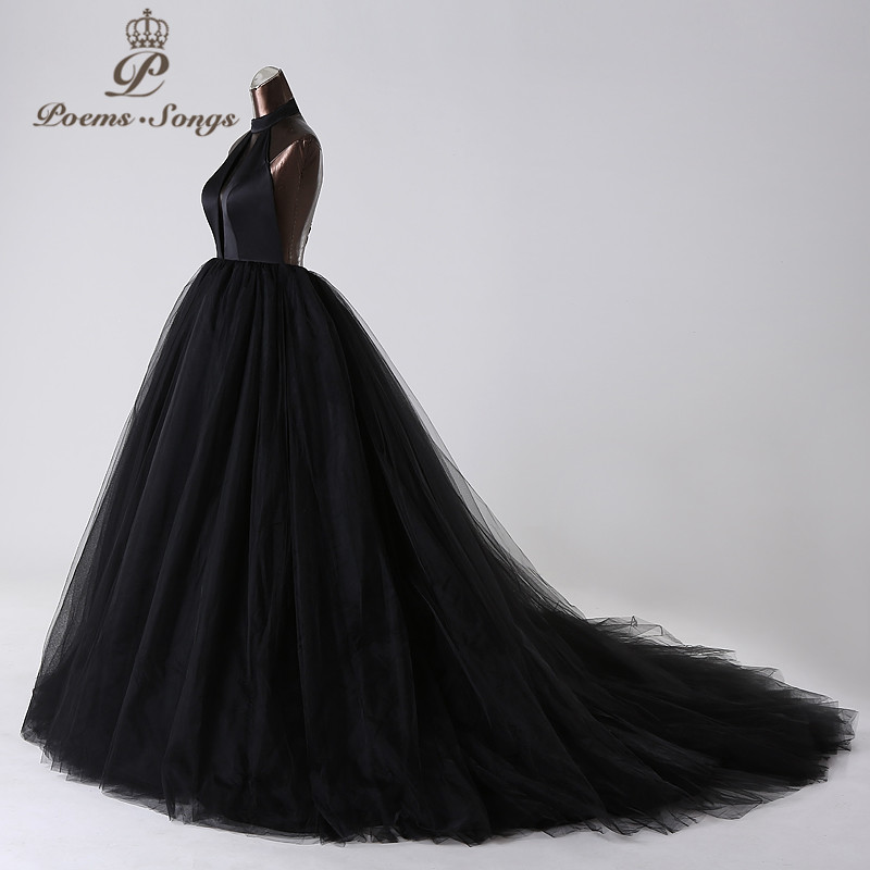PoemsSongs 2019New style custom made Very sexy backless wedding dress white black red vestido de noiva brides dress ball gown - 3