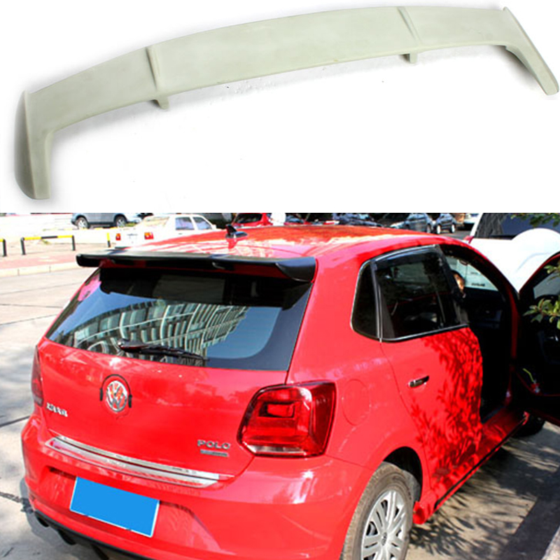 Polo FRP Primer Rear Roof  Lip Spoiler Wing For Volkswagen VW Polo 2011-2015 pu rear wing spoiler for audi 2010 2011 2012 auto car boot lip wing spoiler unpainted grey primer