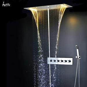 Image 3 - Zestaw prysznicowy łazienkowy akcesoria kran Panel dotknij ciepła i zimna woda mikser LED sufitowa głowica prysznicowa opady deszczu prysznic wodospad hm
