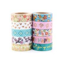 NEW 1X 10m Foil Washi Tape Scrapbooking Tools Cute Decorative Cinta Adhesiva Decorativa Japanese Stationery Washi Tapes Mask