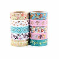 Nuevo 1X10 m. Cinta de Washi de hoja de Scrapbooking herramientas decorativos Cinta Adhesiva Decorativa papelería japonesa Washi cintas máscara