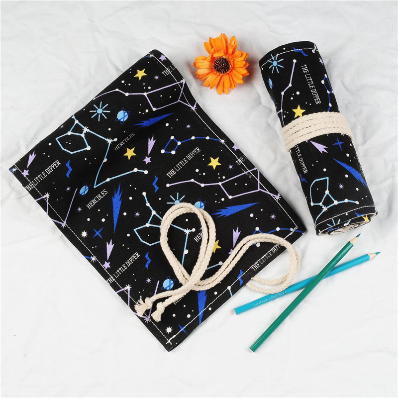 12/18/24/36/48/60/72 Holes Pencil Case Triones Pen Pouch Canvas Wrap Roll Makeup Bag Cosmetic Brush Pen Storage Stationery Gifts