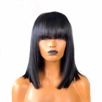 SimBeauty Peruvian Remy Hair Fringe Wig Human Hair Glueless Straight Short Bob Lace Front Wig With Bangs Bleached Knots Lace Wig