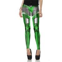 New Arrival Fashion 3D Green Legins MECHA CosPlay ROBOT Comic Legging Printed Women Leggings Woman Pants