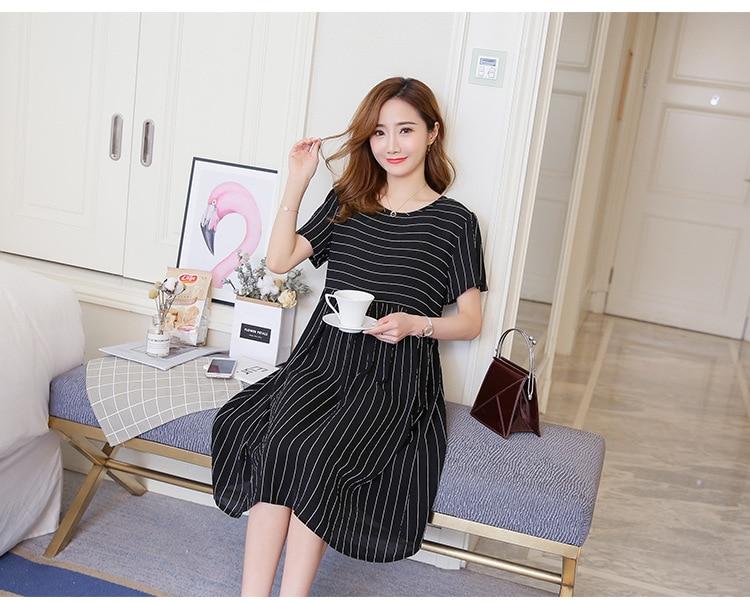 e42c1a6246d Summer Fashion Striped Chiffon Maternity Dress Stylish Clothes for Pregnant  Women Ties Waist Elegant Pregnancy Office Wear ...