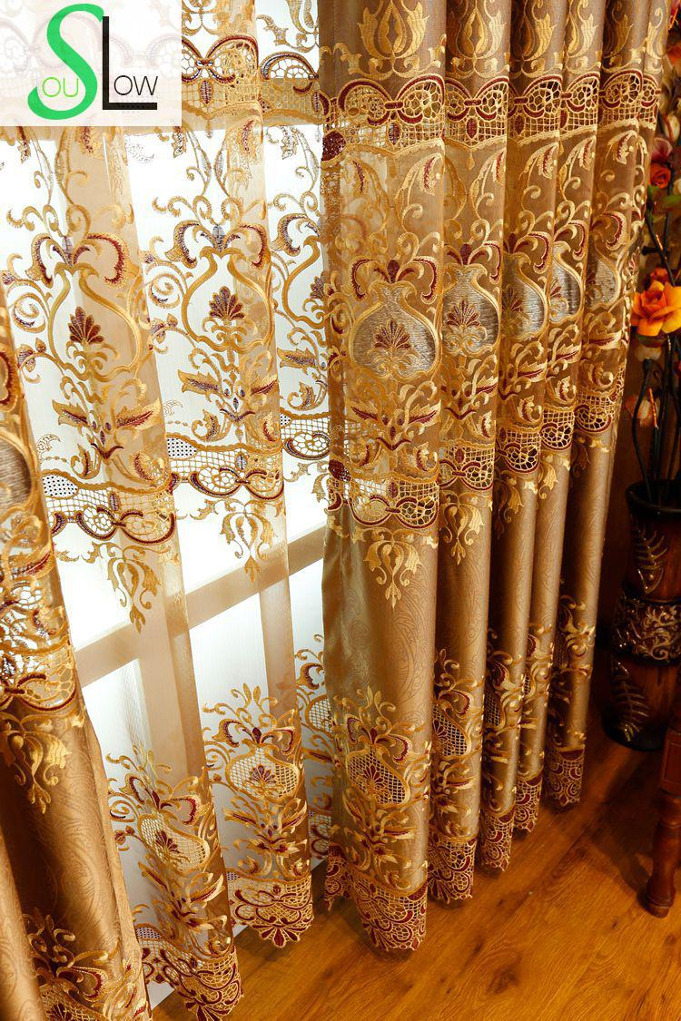 Gold curtains living room - Slow Soul European Style Hollow Water Soluble Embroidered Gold Curtain Curtains For Living Room Bedroom Kitchen Luxury And Tulle In Curtains From Home