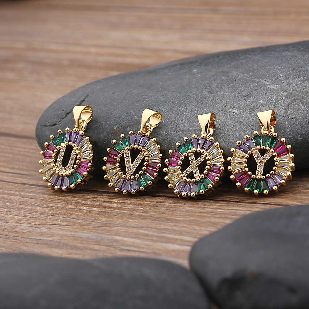 Горячая Распродажа золотого цвета, оригинальное многоцветное CZ ожерелье, Очаровательное ожерелье с буквами, имя, ювелирные изделия для женщин, аксессуары, подарок подруге