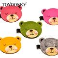 10 pcs/lot Sweet Lovely Girl Children Corduroy Cloth Bear Clip Hair Ring Hair Rope Accessories Hairpin Brooch Mixed Color Random