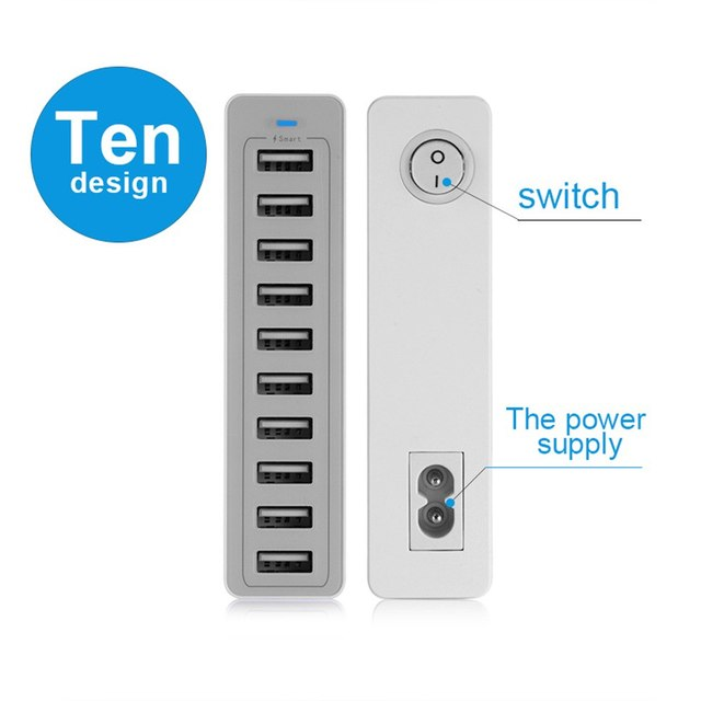 10 Port Multiple USB Charger Fast Charging 60W Multi Wall Charger Power Adapter For iPhone Samsung Xiaomi Mobile Phone Charger 2