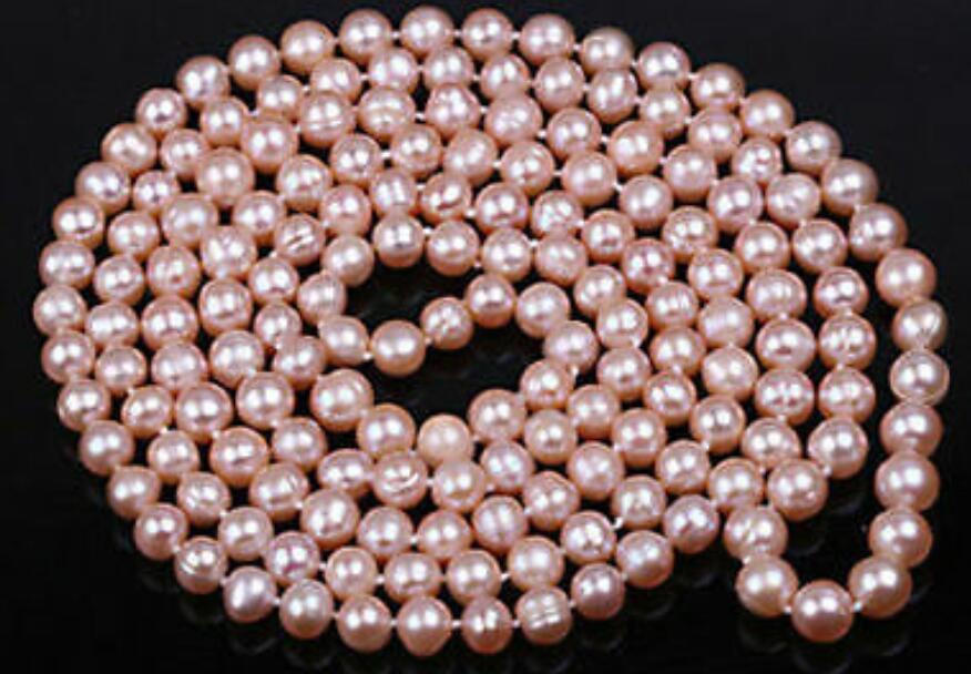 """9-10 мм 3"""" 100"""" Длинные Розовый, искусственно выращенный пресноводный жемчуг ожерелье"""