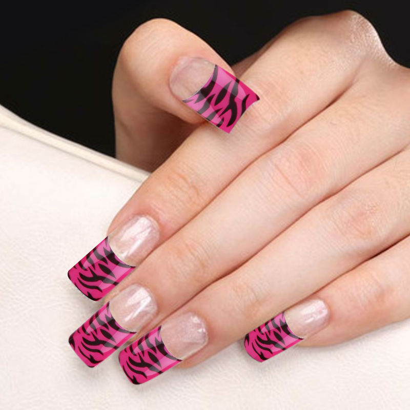 False Nails Zebra Stripe Fashion Pattern False Nail Tips 70 pcs ...