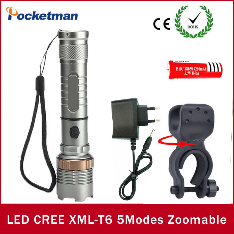High Bright <font><b>LED</b></font> flashlight CREE XM-L T6 <font><b>LED</b></font> <font><b>zaklamp</b></font> Bicycle Light + 18650 battery+Charger+ Torch Holder lampe tactique
