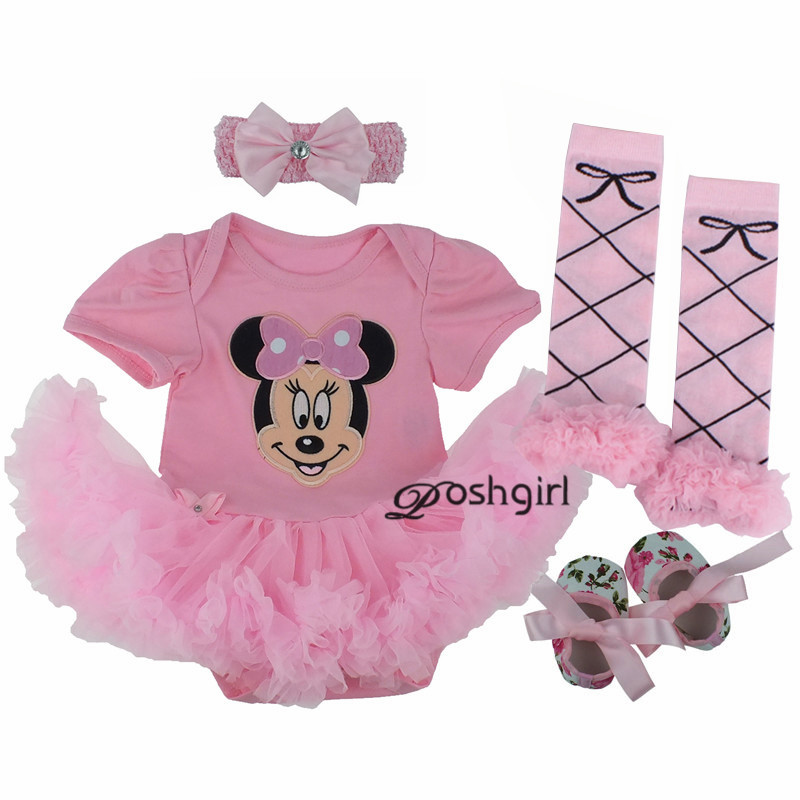 Summer Style Newborn Dresses Baby Clothes Girls Romper Minnie Face Pink Tutu Dress + Dot Legging + Shoes + Headband 4pcs Sets pink 1st birthday outfits for girls newborn infant lace tutu dress romper set 2017 vestido infantil toddler romper dress clothes