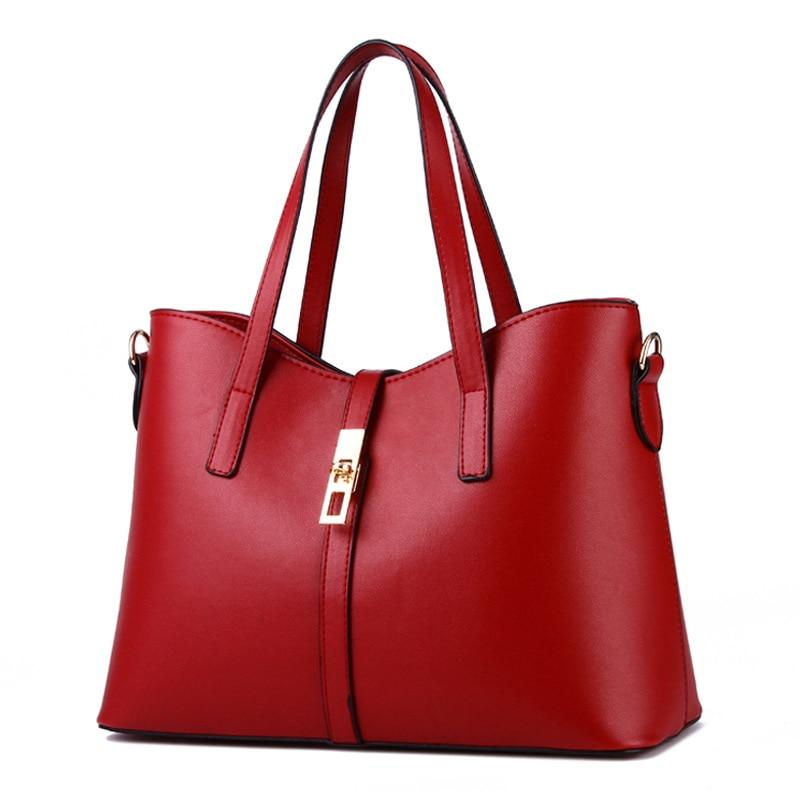 Red PU Women Handbag Simple Office Lady Shoulder Bag Crossbody Messenger Zipper
