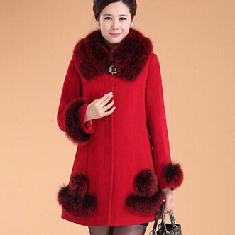 Nouveau Fourrure Grande Mère bleu rouge De Taille Long Noir Femmes Col Laine Manteau Mode Cachemire rnrpxqgU