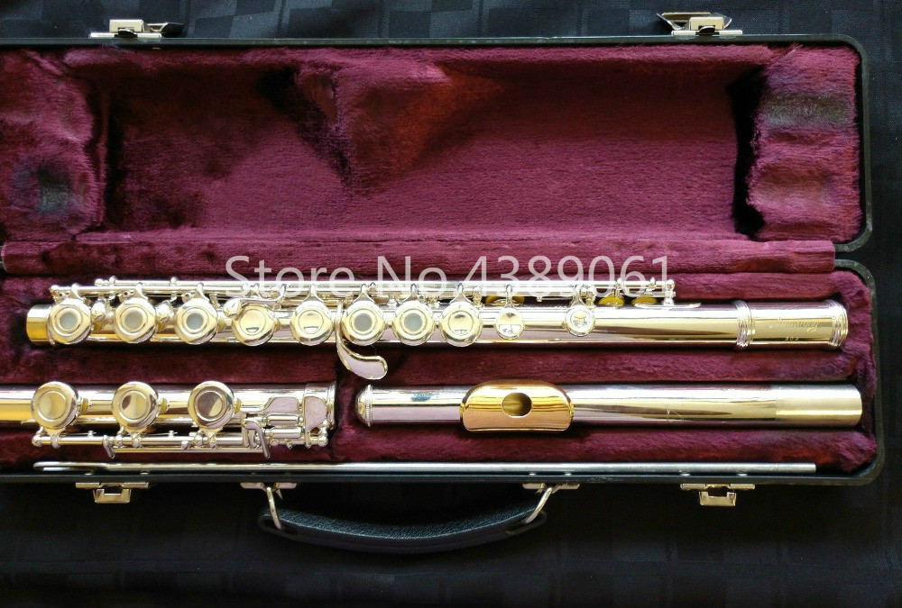 ARMSTRONG 303 Brand C Tune Cupronickel Flute Silver Plated Surface Gold Lip Plate E Key 17 Holes Open Flute Musical Instrument