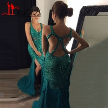Black Girl Evenin Dresses 2017 Emerald Green Backless Long Sexy Mermaid Side Split Gold Party Prom Gown vestido longo  LY508