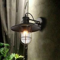 Iron Wall Lamp loft Wall Light for outdoor use 28CM Arandela Externa Glass wall lamps for Dinning Room Hallway