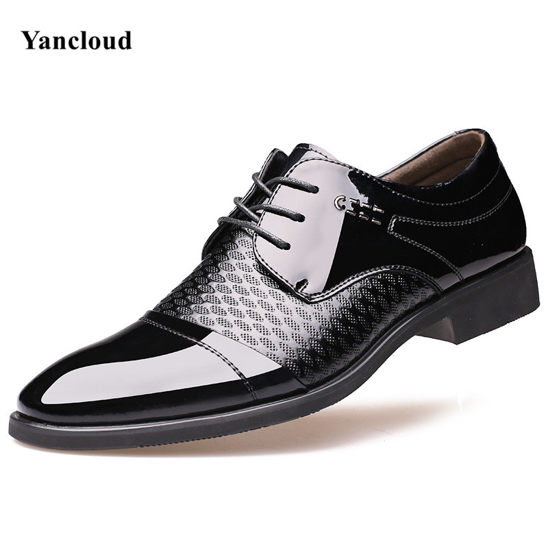 Top Quality Mens Dress Shoes 2017 Pointed Toe Patent Leather Summer Shoes Men Black Wedding Shoes