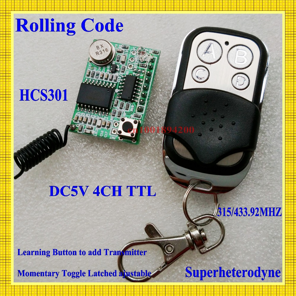 Rolling Code Remote Control Receiver Module +Transmiter System DC3-5V TTL super-heterodyne OOK/ASK 4CH Latched Toggle Momentary