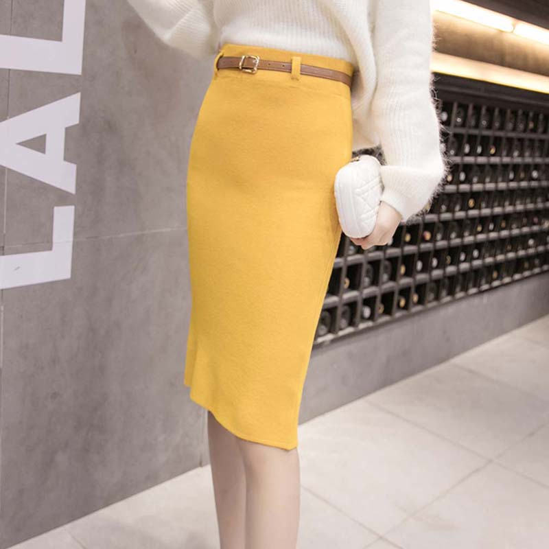Sexy Split Package Hip Skirts With Belt For Women Skirts Fashion Knitted Midi Pencil Skirt Autumn High Waist Bodycon Skirt