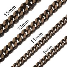 News Arrival 9/11/13/15 mm Punk Black Stainless Steel Miami Curb Cuban Chain Necklaces Lock Clasp Mens Rock Dj jewelry 16-32