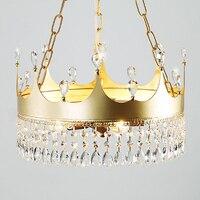 Творческая детская комната украшение Корона люстра сказочный дизайн золотистого металла K9 с украшением в виде кристаллов для Светодиодный