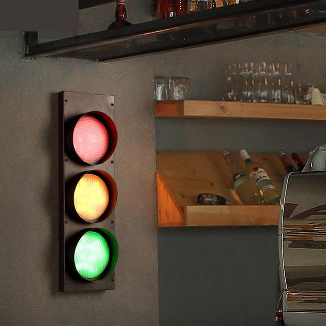 home party 3-Color stage light Loft Retro Cafe Iron Wall Lamp Wall mounted Bar Restaurant decoration Traffic light Disco light