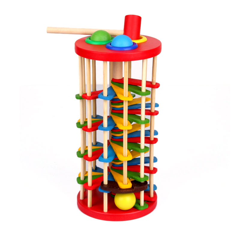 Montessori Wooden Educational Toys For Children Rainbow Tower Tumbler Early Learning Stacking Rings Toys CD0865H learning education wood intelligence box montessori educational toys for children kids toy 13 holes shape sorter early toys