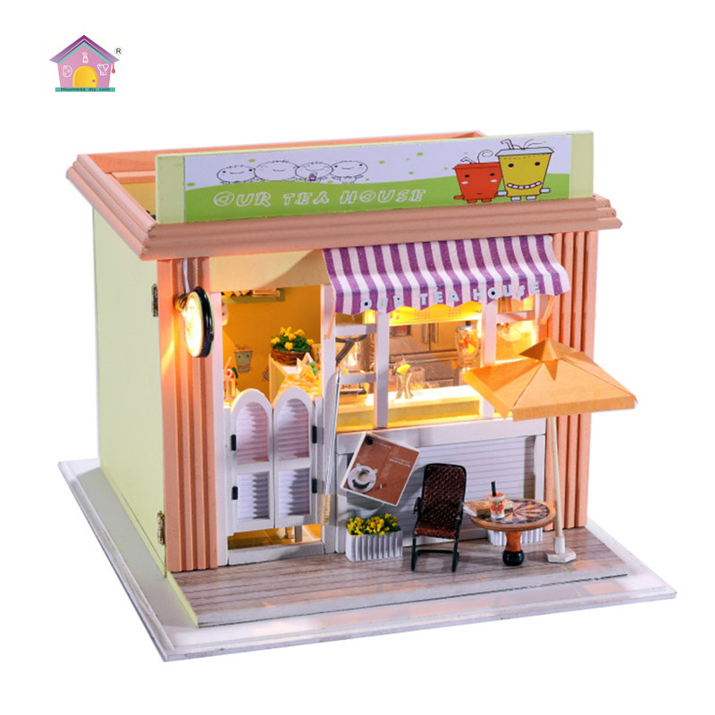 Hoomeda Milk Tea Store Miniature Wooden Doll House With DIY Furniture Fidget Toys For Kids Children Birthday Gift C005 цена 2017