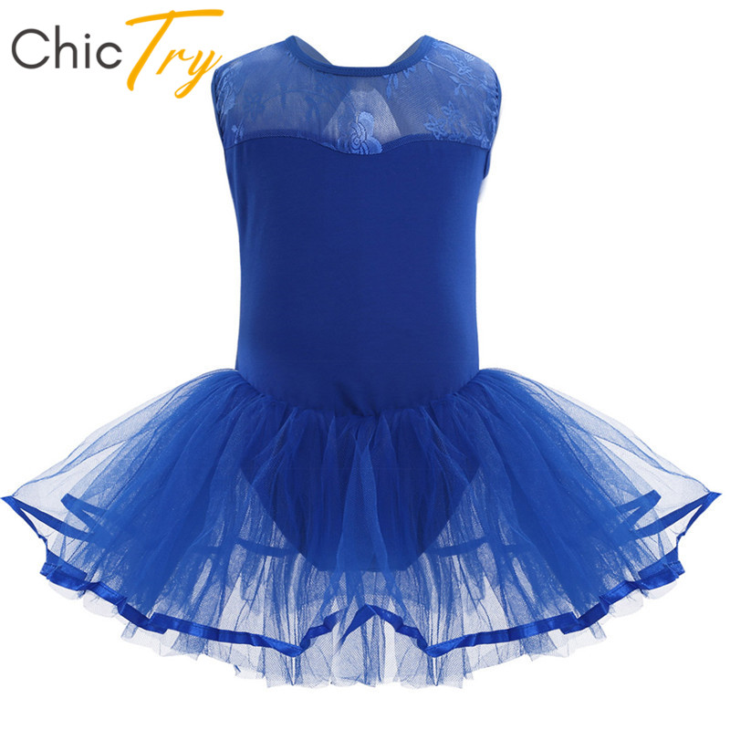 ChicTry Kids Teens Sleeveless Professional Ballet Tutu Mesh Dress Children Girls Ballet Leotard Stage Performance Dance Costumes