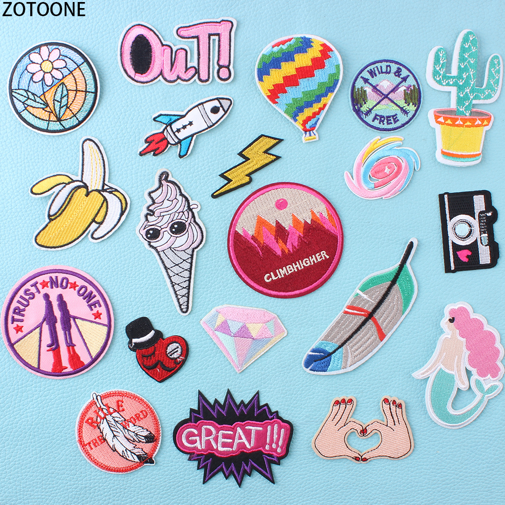 ZOTOONE Colorful Letters Circle Patch for Clothing Embroidered Clothes Patches Applications Badges Stickers Applique Garment
