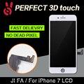 2 pçs/lote 100% sem dead pixel para iphone 7 display lcd Substituição da Tela de toque 4.7 Digitador Assembléia Preto ou Branco livre DHL