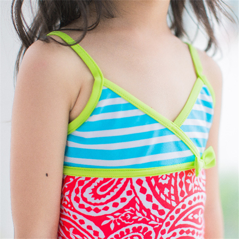 New Model Kid Girls One Piece Swimsuit 2 7 Y Baby Girl Flower amp Striped Swimwear Children Swimming Wear Sling Swim Suit Bathing in Children 39 s One Piece Suits from Sports amp Entertainment