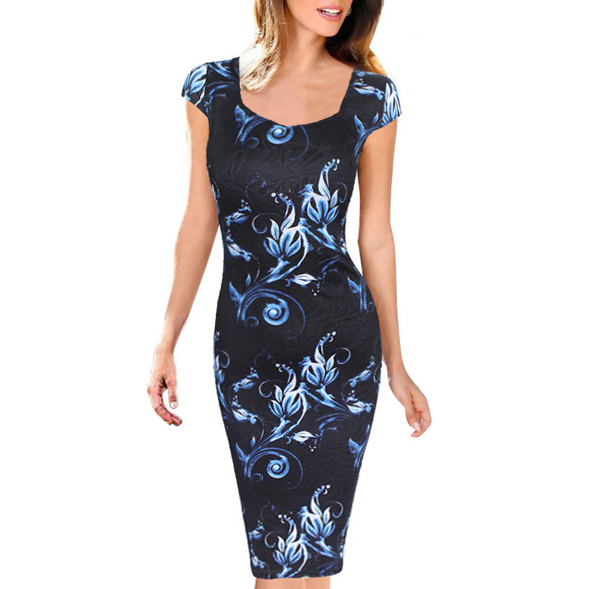 b198805c85b36 US $9.98 |Women Dress Summer Elegant Floral Print Vestidos Work Business  Casual Party Straight Dresses Plus Size 0100 2-in Dresses from Women's ...