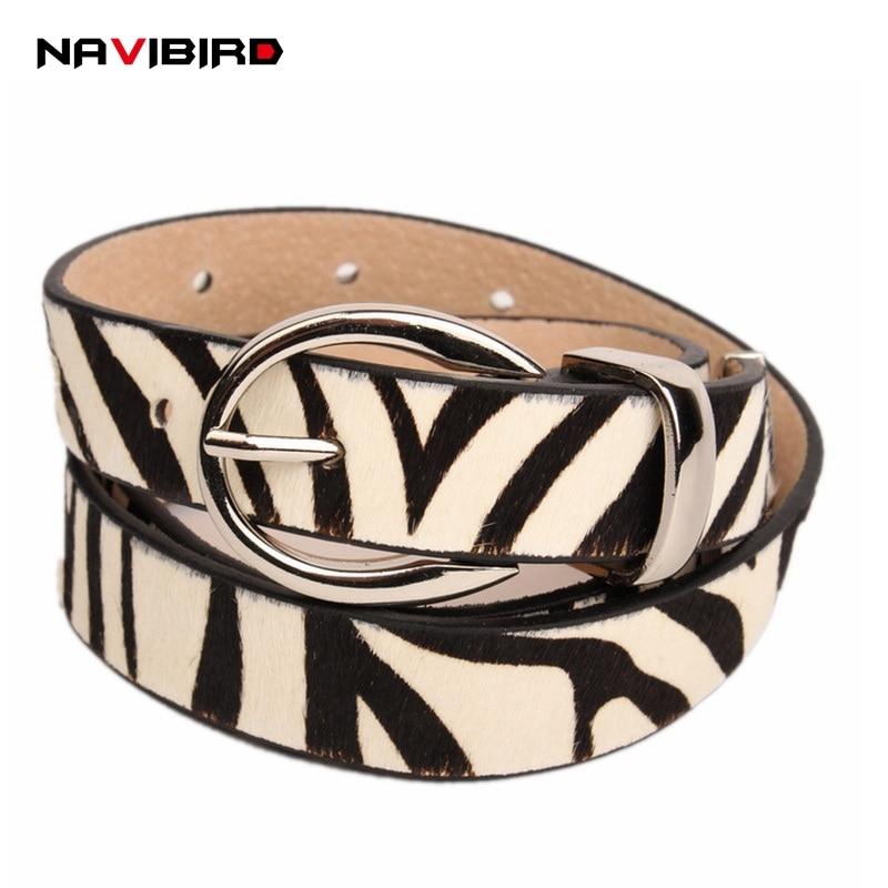 De lujo de cebra patrón de leopardo de crin de caballo cinturones para Mujer de moda cinturón de cuero de piel de vaca ajustable lujos de Mujer