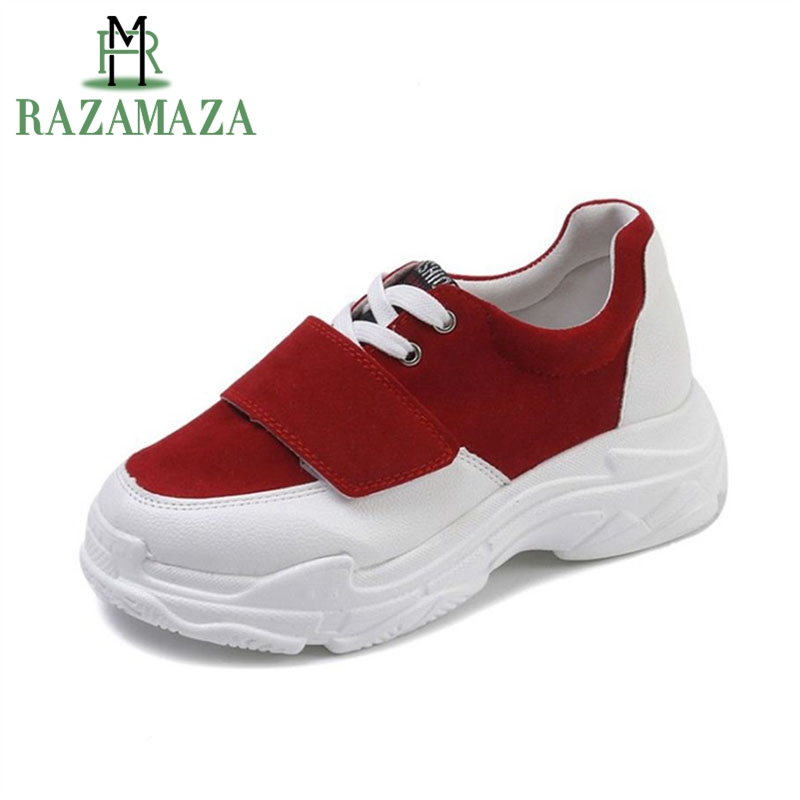 RAZAMAZA Women Causal Flats Sneakers Shoes Woman Cross Strap Solid Color Daddy Flats Shoes Woman Leisure Footwears Size 35-39