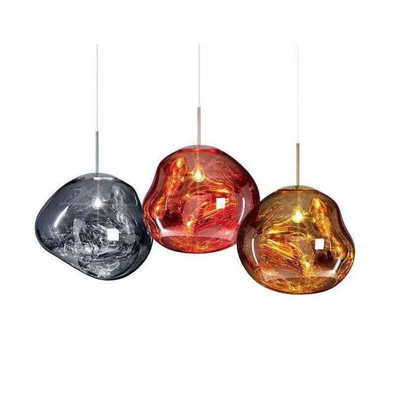 Modern 30/40cm Red Silver Gold Melt Glass Pendant Lamp Lava Irregular Creative Designer Hang Lamp for Living Room Bedroom