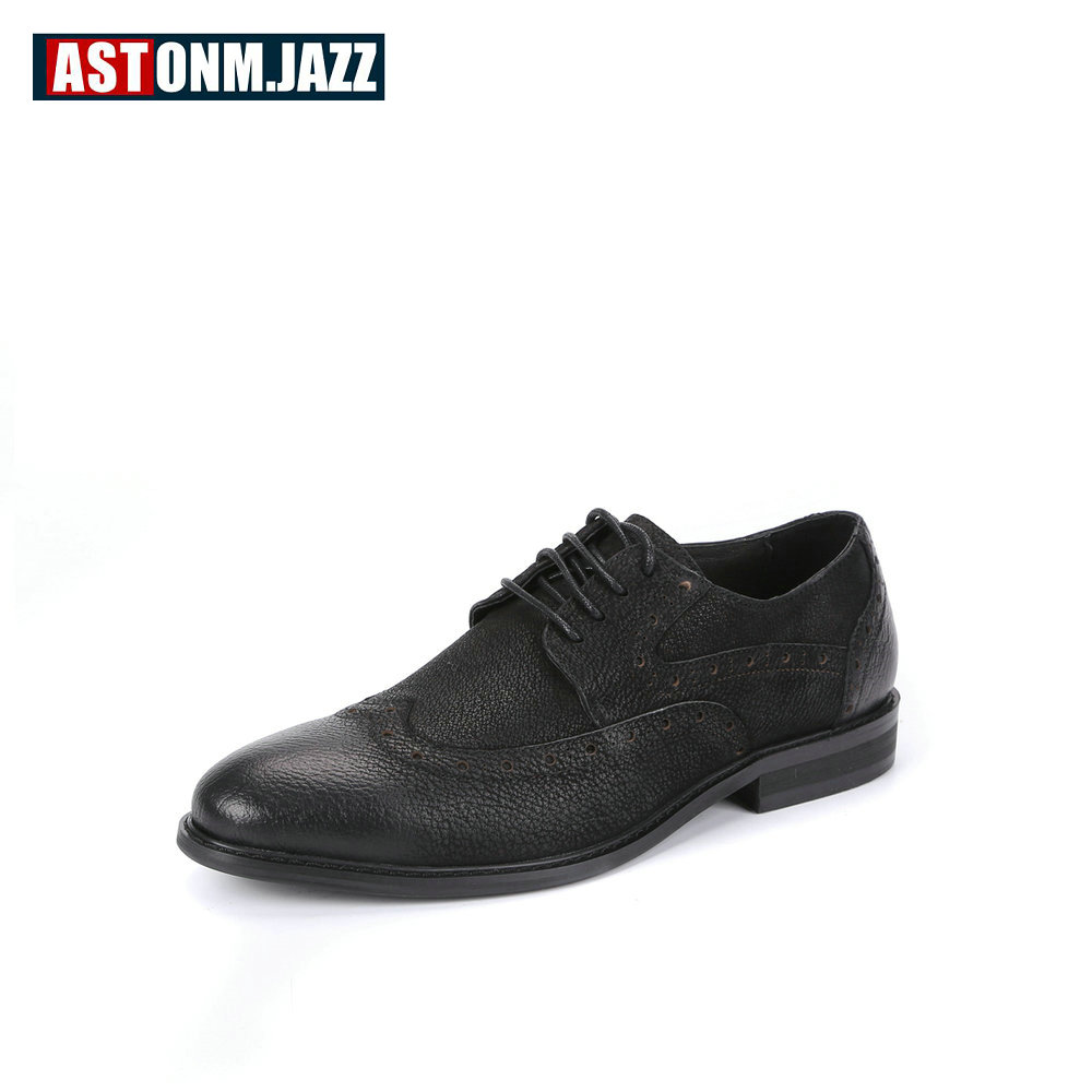 Men's Casual Brogues Shoes Full Grain Leather Oxfords Shoes Men Cowhide Casual Business Shoes Men Branded Dress Shoes Party New new branded men s casual full grain leather oxfords shoes wedding dress shoes handmade business lace up brogue shoes for men