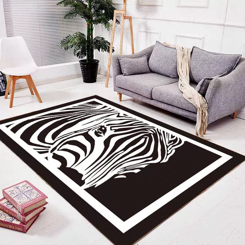 Unique design black and white mix zebra pattern easy care - Black and white living room rug ...