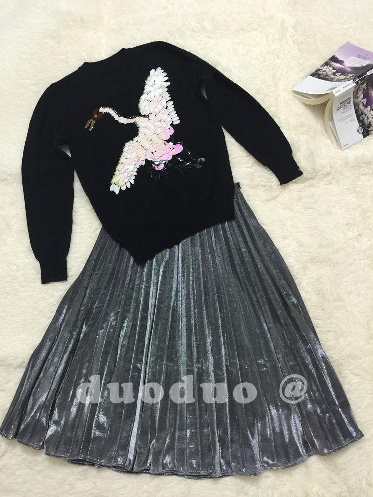 Di Primavera Pullover Paillette Delle Femminile Arrivo Casual Top Nuovo Il Donne Swan Nero Strass 2017 Paillettes Vestiti Maglione uTkOPXZi