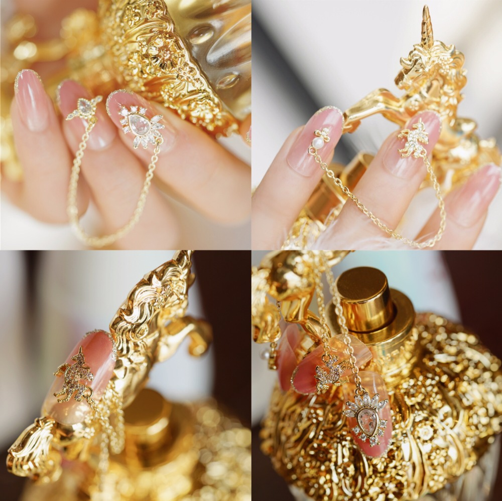 Nail Tools Theme Of Unicorn Gemstone Japanese Cute Pure Color With Rivet Decoration 3d Fake Nails Princess Style False Nails Bride Full False Nails