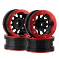 Mxfans 4pcs RC 1:10 Rock Crawler Car Black Plastic Wheel Rim & Red Aluminium Beadlock