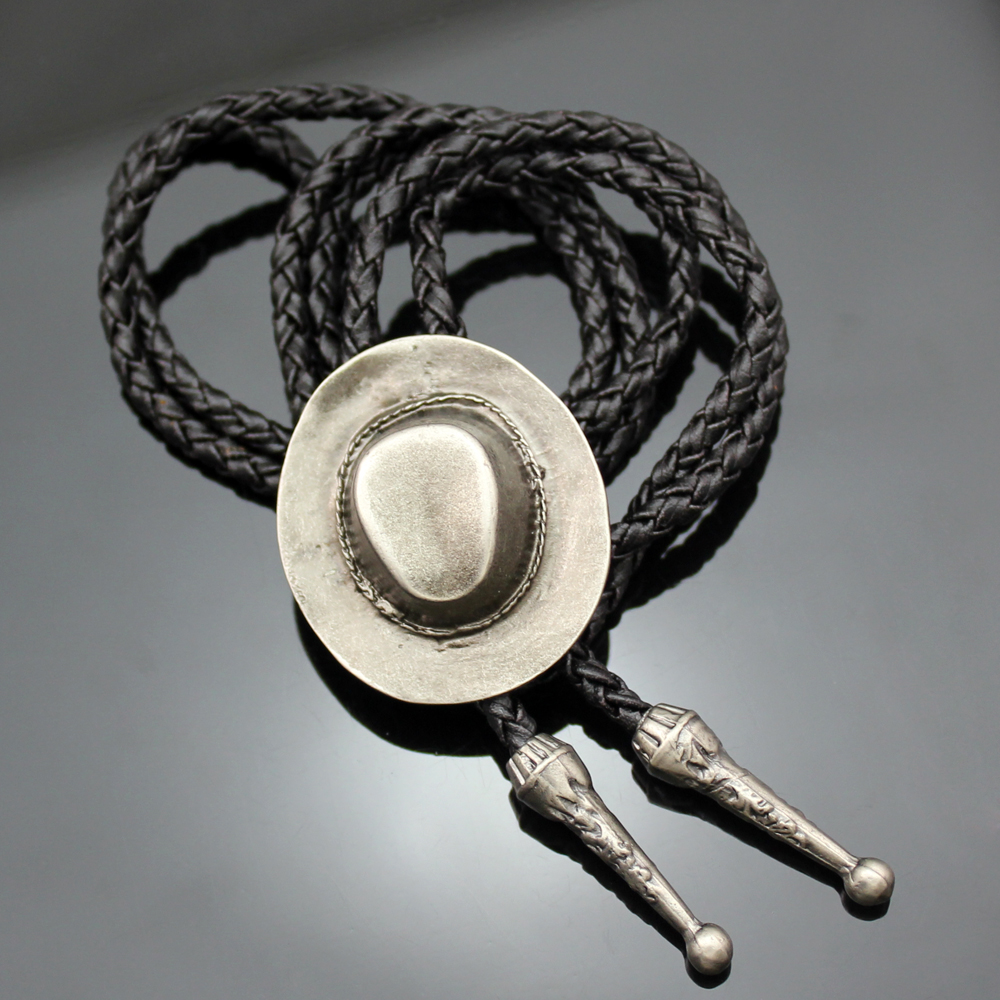 Vintage Gold Silver Cowboy Hat Stetson Black Leather Rodeo Western Bolo Bola Tie Necktie Line Dance High Quality Jewelry Unisex