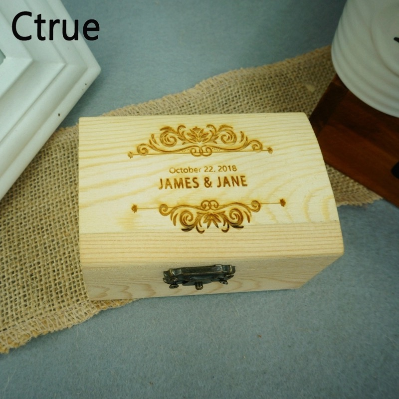 Personalized Rustic DIY Ring Bearer Box Custom Date Name Flora Rustic Wedding Ring Bearer Pillow Box Engraved Wooden Ring Box in Party DIY Decorations from Home Garden