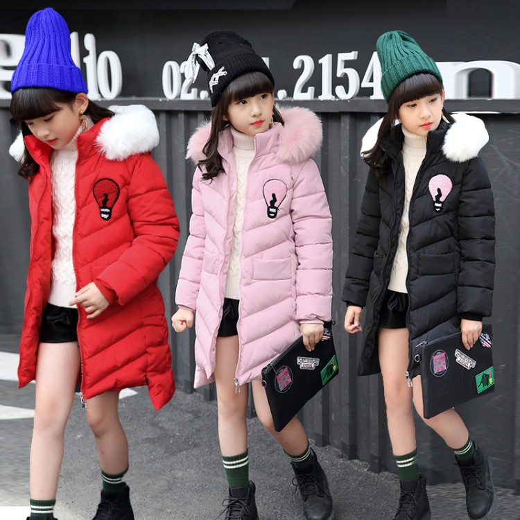 New Girls Winter Jackets Kids Hooded Coats Thick 5-13Y Children's Warm Parkas Girl Winter Coat With Fur High Quality Outdoor plus size women winter jackets lengthened down cotton coats high quality hooded fur collar parkas thick warm jackets okxgnz 1149
