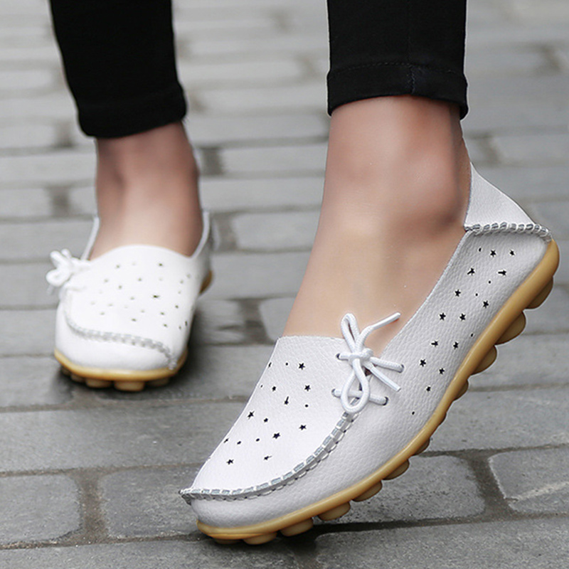 Shoes woman genuine leather sewing hollow flats breathable round toe loafers 14 colors casual shoes large size 34-43 zapatos designer women loafers flower genuine leather shoes ladies moccasins ballet flats round toe casual zapatos mujer size 35 44