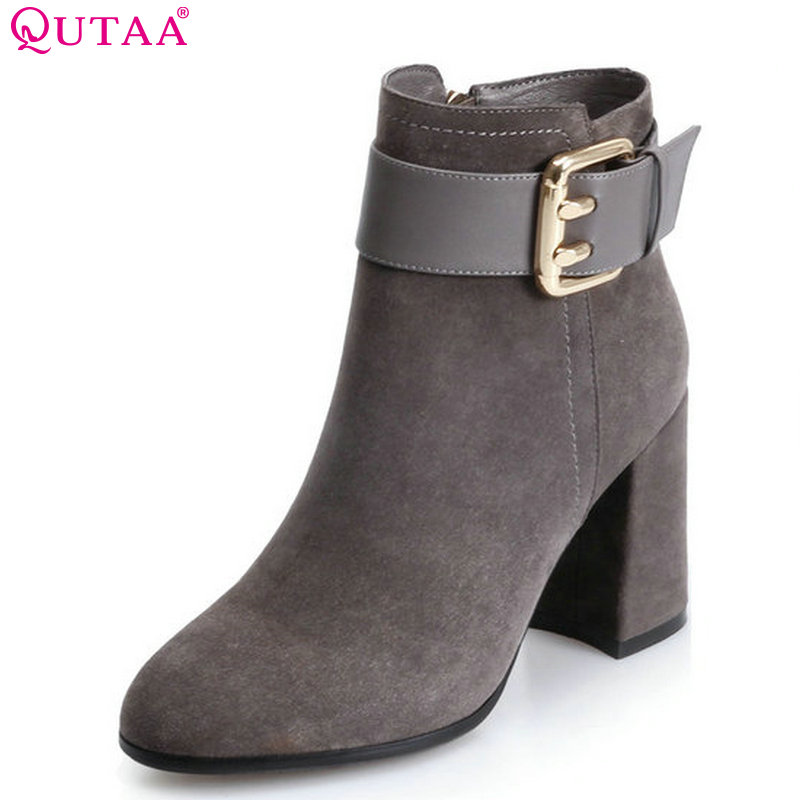 QUTAA 2018 Buckle Design Women Fashion Ankle Boots Zipper Square High Heel Round Toe Solid Green Women Boots Size  34-39 high quality full grain leather solid boots size 40 41 42 43 44 zipper design round toe square heel boots