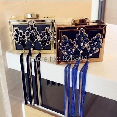 ФОТО New  high quality handmade tassels classic diamond luxury women's handbags clutch evening bag purse party mini shoulder bag