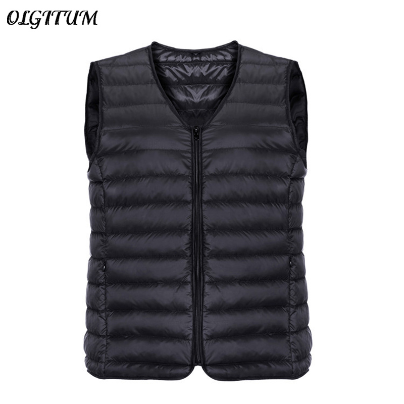 Brand Winter Jacket Vest Men 90% White Duck Down Ultra Light Vest Portable V-neck Sleeveless Coat Male Casual Zipper Waistcoat